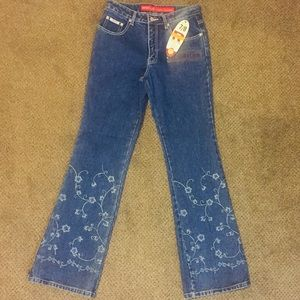 Revolt blue regular floral embroidered jeans